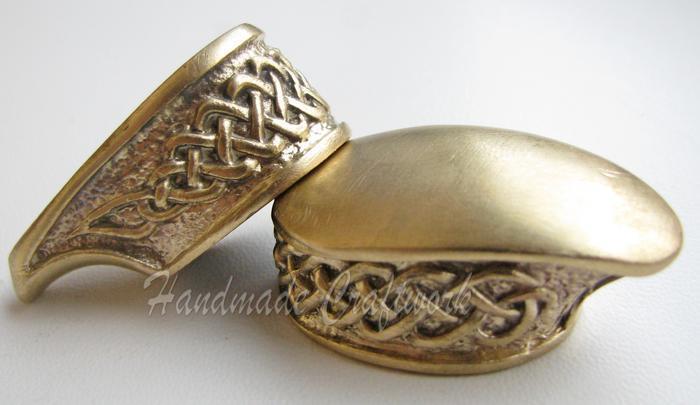 Set of Finger Guard & Pommel for Custom Knife Making Handle Bronze/Silver  s0001